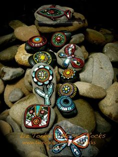 by Liz Tonkin ,  Mosaic Rocks...good project for camping.