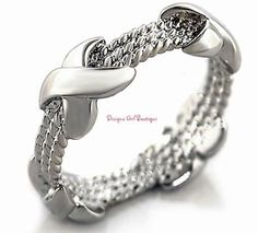 Cable Rope Ring Crisscross X Design Rhodium Silver-tone Nautical SZ 5 7 9 #Unbranded #Band