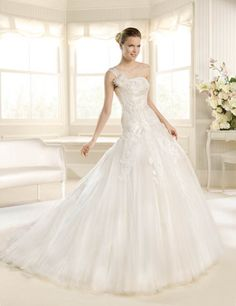 New A-Line Wedding Dress: 2013 Glamour Collection Fit and Flare A-Line Tulle & Lace Gown with Linear N La Sposa Wedding Dresses, Wedding Dress 2013, Bridal Dresses, One Shoulder Wedding Dress, Flower Girl Dresses, Bridesmaid Dresses, 2017 Wedding, Bridal Gown Styles, Wedding Dress Styles