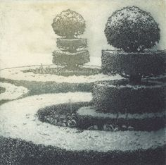 Last of new etchings for a while - Topiary Garden by Chrissy Norman - never sure how an image will turn out they seem to follow their own path......