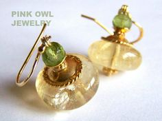 Large Citrine Peridot earrings Gold Vermeil by pinkowljewelry