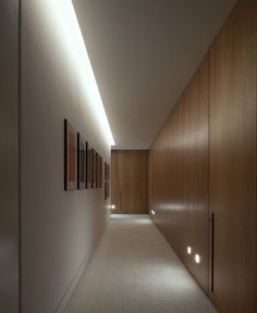 Hall lighting: cove and footlights at millwork Corridor Lighting, Hall Lighting, Entryway Lighting, Interior Lighting, Lighting Design, Lighting Stores, Lighting Ideas, Cove Lighting Ceiling, Corridor Ideas