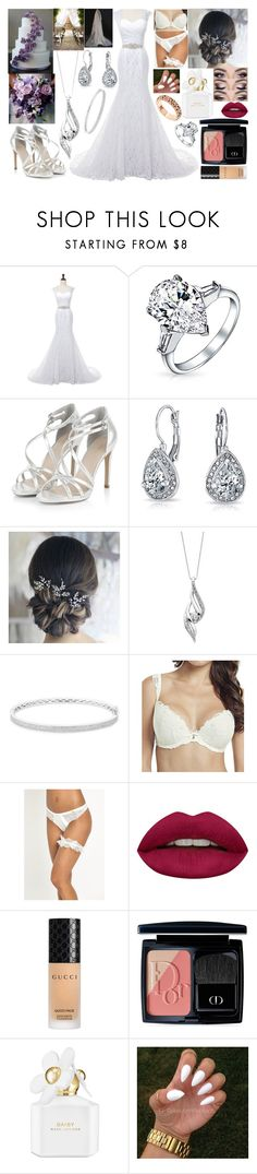 """""""Smexy Wedding Day!!! <3"""" by hayley11123 ❤ liked on Polyvore featuring Bling Jewelry, Sirena Collection, Anne Sisteron, Panache, Ultimo, Huda Beauty, Gucci, Christian Dior, Marc Jacobs and Vanzi"""