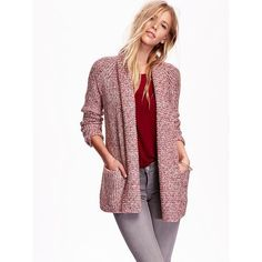 Old Navy Womens Marled Shaker Stitch Cardigan ($52) ❤ liked on Polyvore featuring tops, cardigans, red, long sleeve open front cardigan, old navy, red top, open front cardigan and old navy tops