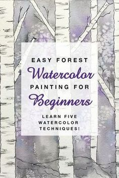 Easy Forest Watercolor Painting for Beginners   Learn watercolor techniques! #winter #forest #watercolor #beginners
