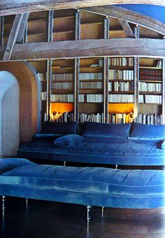 Pauline de Rothschild's famous blue library at Mouton.