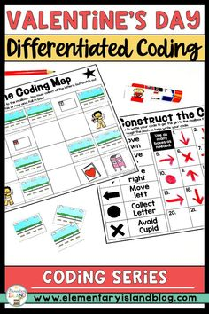 """This Valentine coding activity will be fun for any age.  These are differentiated and can be used in small group, during centers, or as a whole group instruction.  No coding knowledge is necessary.  This Valentine coding activity is """"unplugged,"""" meaning no technology is needed! Students will plan out their map and then do the coding to get their piece across the board. Perfect for 1st, 2nd, 3rd, and 4th graders.  {second, third, fourth} #valentinecoding #codingactivities #elementaryisland Valentines Day Activities, Hands On Activities, Stem Activities, Educational Activities, Elementary Education Activities, Critical Thinking Skills, Teaching Strategies, Differentiation"""