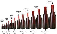 Un grand nombre de tailles de bouteilles de vin...