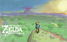Fanart of The Legend of Zelda: Breath of the Wild. The new blue-clad Link is standing on a cliff overlooking the vast vista of a new world at sunset.