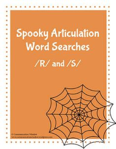 Free Halloween Articulation Word Searches - R and S Sounds. Repinned by SOS Inc. Resources pinterest.com/sostherapy/.