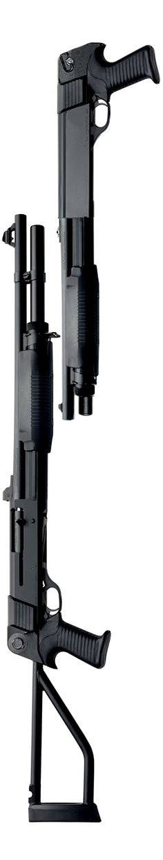 HK marked Benelli M3T Super 90 with top folding stock and Benelli M3 Super 90 Shorty. Both are 12 gauge.