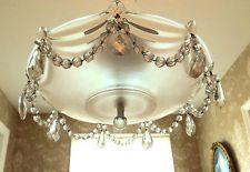 Elegant Retro Vintage Drape Glass with Crystal Prisms Ceiling Fixture Chandelier