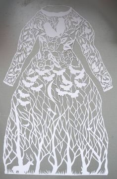 "Saatchi Art Artist Eugenia Zoloto; Sculpture, ""Papercut artwork, paper sculpture Dress original hand cut work in white, art silhouette by Eugenia Zoloto"" #art✖️More Pins Like This One At FOSTERGINGER @ Pinterest✖️"