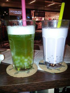 Nasze Bubble tea zielona herbata z kiwi i kulki lychee oraz taro i kulki lychee