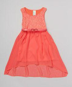 Flower girls dress, minus the belt?  Look at this #zulilyfind! Coral Lace Belted Dress by Just Kids #zulilyfinds