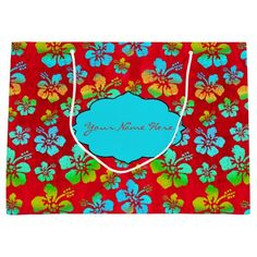 Hibiscus Multicolor Flowers on Red Large Gift Bag