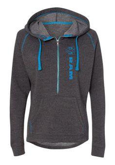 Ladies Ram 1/2 Zip Triblend Hooded Sweatshirt