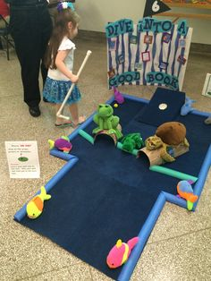 Golf Program Turtle, frog and ocean books inspired mini golf. Library Games, Library Ideas, Library Week, Library Activities, Mini Golf, Golf Tyler, Friends Of The Library, Golf Card Game, Golf Etiquette