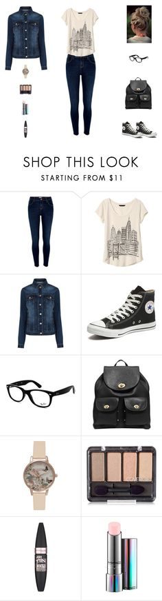 """""""Contest: Casual Outfit For School"""" by billsacred ❤ liked on Polyvore featuring River Island, Banana Republic, Warehouse, Converse, Ray-Ban, Coach, Olivia Burton, Maybelline and MAC Cosmetics"""
