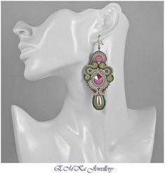 Green earrings peach earrings soutache earrings long