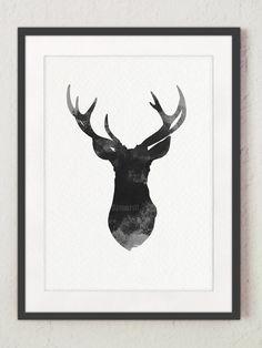 pochoir t te de cerf cerf choisissez une taille entre 3 20 pour la peinture des panneaux bois. Black Bedroom Furniture Sets. Home Design Ideas