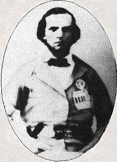 Joseph Lorenzo Stuart of Columbus, Arkansas. The photograph was taken early in 1862 and shows a cockade and ribbon with HR (Hampstead Rifles).
