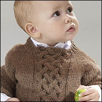 Free pattern. Murano Lace Baby's Cable Sweater. 6months-5years