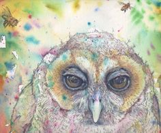 Part of: 'Owl, a different kind of Story.' Watercolour Mijello_Mission Gold Class and Ink-pen on Saunders Waterford by St Cuthberts Mill, CP(NOT) 35 x 52 cm St Cuthbert, Gold Class, Kinds Of Story, Petra, Watercolour, Owl, My Arts, Birds, Artist