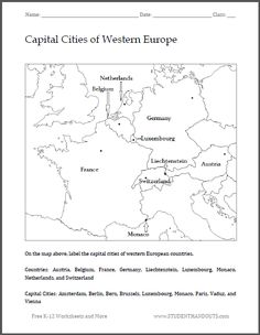 Blank world map worksheet free to print social studies capital cities of western europe map worksheet free to print pdf file works with both younger and older students to familiarize them with the region gumiabroncs Gallery