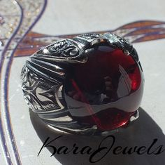 925 Sterling Silver Men's Ring with Rhodolite Garnet unique handcrafted jewelry Cleaning Silver Jewelry, Gold Jewelry, Men's Jewellery, Diamond Jewelry, Jewelry Rings, Jewelry Watches, Jewellery Making Courses, Unique Rings, Unique Jewelry