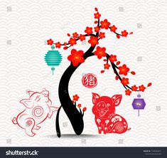 Chinese new year blossom tree 2019 background. Year of the pig (hieroglyph Pig) Chinese New Year Design, Chinese New Year Crafts, Chinese New Year Decorations, New Years Decorations, Chinese Painting, Chinese Art, Chinese New Year Wallpaper, Chinese Paper Cutting, New Year Art