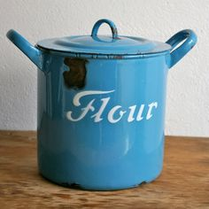 English-made big enamel flour bin...  very rustic and a bit knocked about but the chips give it character, or?