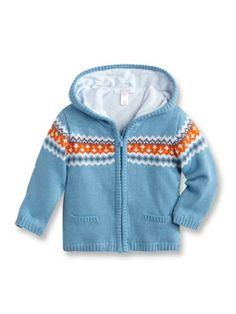 Gilet veste bébé jacquard Bleu Grisé - Naissance Bébé Garçon - Obaïbi