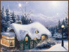 Thomas Kinkade Silent Night painting for sale, this painting is available as handmade reproduction. Shop for Thomas Kinkade Silent Night painting and frame at a discount of off. Thomas Kinkade Art, Thomas Kinkade Christmas, Kinkade Paintings, Oil Paintings, Thomas Kincaid, Winter Szenen, Winter Time, Vermont Winter, Art Thomas