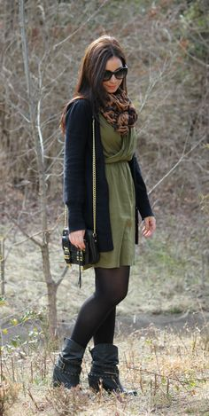 Long cardigan, dress, black tights and boots
