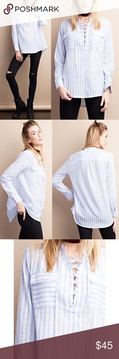 KANA lace up long sleeve top w/ pockets - BLUE Light-weight long sleeve striped top with lace up front detail.  Front pockets.  Super soft.  AVAILABLE IN BLUE AND TAUPE. Bellanblue Tops