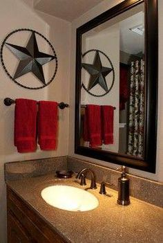 add an iron artwork piece in the bathroom. Also like the pop of red against the gold & brownMaybe add an iron artwork piece in the bathroom. Also like the pop of red against the gold & brown 73 Modern Home Design Ideas that Will Spark so Much Joy Western Bathrooms, Rustic Bathrooms, Dream Bathrooms, Amazing Bathrooms, Western Bathroom Decor, Bathroom Red, Diy Bathroom Decor, Simple Bathroom, Bathroom Ideas