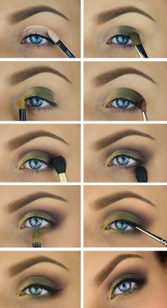 Tutorial, makeup, pictorial, step by step, MUA, makeupartist, sminkning, smink, green, yellow, gold, purple, party