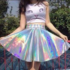 Harajuku galaxy zipper tall waist tutu skirt
