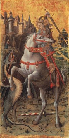 Saint George Slaying the Dragon, 1470, Carlo Crivelli, Gold and tempera on wood, 94 x 47.8 cm