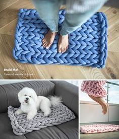Ohhio Braid - Unique Chunky Creations New line of Ohhio products. Throws, pet beds, mats and DIY kits. Giant Knitting Yarn, Arm Knitting, Vogue Knitting, Hand Knit Blanket, Knitted Blankets, Yarn Projects, Knitting Projects, Knitting Tutorials, Knitting Patterns