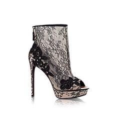 Louis Vuitton black lace on nude suede stiletto boots