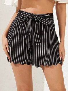 ((Affiliate Link)) Description Style:	Casual Color:	Black Pattern Type:	Striped Details:	Belted, Scallop Type:	Wide Leg Season:	Summer Composition:	100% Polyester Material:	Polyester Fabric:	Non-stretch Sheer:	No Fit Type:	Regular Waist Type:	High Waist Closure Type:	Elastic Waist Belt:	Yes Lining:	No