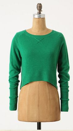Another view of the cropped green sweater from Anthro