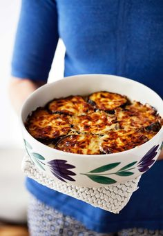 This eggplant gratin with onions and feta cheese beats any potato gratin!    NO mint! yuck.
