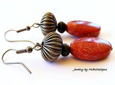 Red Sponge Coral Earrings Dangle Drop Orange by MsBsDesigns, $34.00