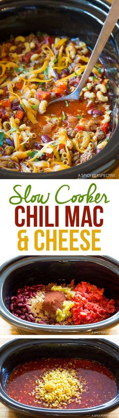 Irresistible Slow Cooker Chili Mac and Cheese Recipe | ASpicyPerspective.com