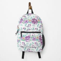 Purple Peonies, Different Styles, Fashion Backpack, My Arts, Backpacks, Watercolor, Art Prints, Printed, Elegant