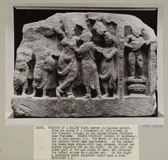 London, England (In the collection of the V&A, photographed)  Descriptive line  Photograph depicting a portion from a Greco Buddhist relief panel of the birth of Buddha and the infant prince, carved in talcose schist (Gandhara School), found at the ruins of a monastery at Takt-i-bahi on the Punjab-Afghan frontier near Peshawar, Pakistan, made ca. 1st to 3rd century.