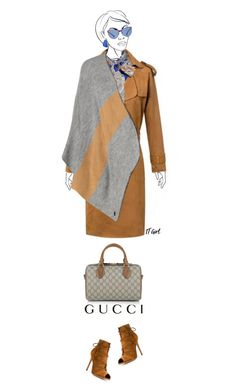 """Office outfit: Camel - Gray"" by downtownblues ❤ liked on Polyvore featuring WithChic, INC International Concepts, Diesel and Gucci"